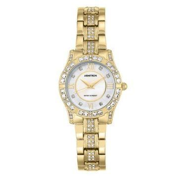 Armitron Women's Mother of Pearl and Gold-Tone Swarovski Crystal Dress Watch