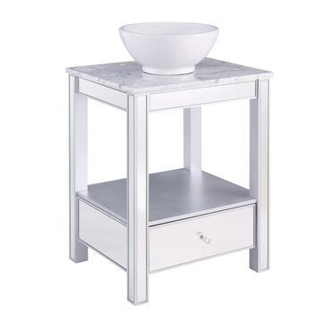 Southern Enterprises Donniford Mirrored Vanity w/ Marble Top and Vessel Sink