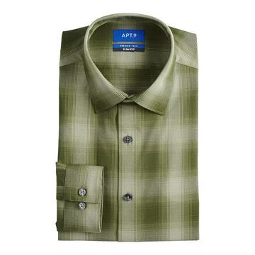 Men's Apt. 9 Premier Flex Extra-Slim Fit Spread-Collar Dress Shirt, Size: XS 32/33, Dark Green