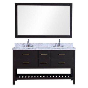 Legion Furniture Legion Furniture Double Vanity With Mirror Set, Espresso, 60