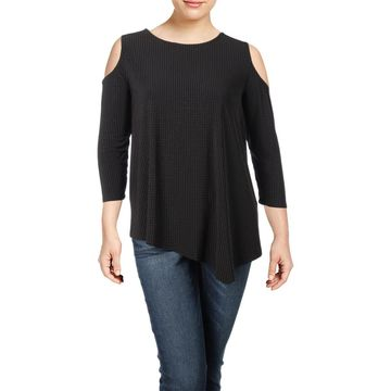 Rafaella Womens Plus Cold Shoulder Mixed Media Pullover Top