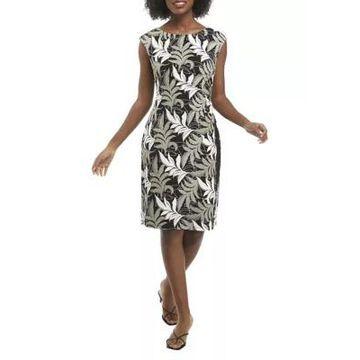 Women's Connected Apparel Sleeveless Leaf Print Side Ruche Sheath Dress