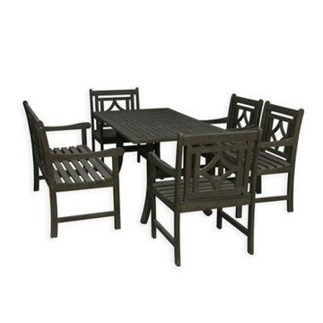 Vifah Renaissance 6-Piece Outdoor Dining Set in Grey