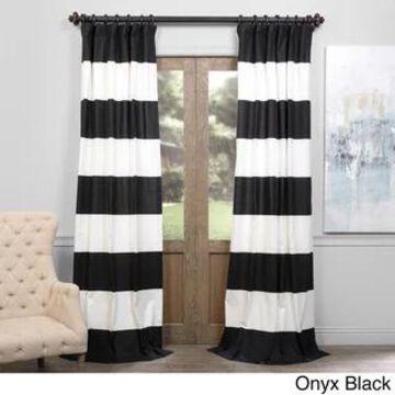 Exclusive Fabrics Cabana Cotton Horizontal Stripe 84-inch Curtain Panel (50 X 84 - onyx black & offwhite)