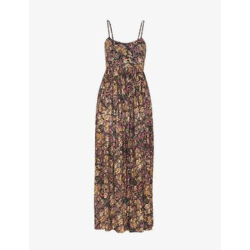 Whistles Womens Multi-coloured Batik Carmen Graphic-print Woven Midi Dress 10