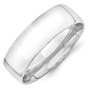 10K White Gold 7mm Lightweight Polished Comfort Fit Band by Versil