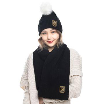 LAFC ZooZatz Fuzzy Cuffed Pom Knit Hat and Scarf Set