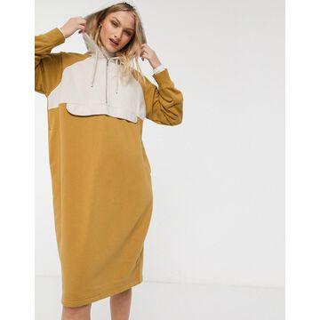 Monki oversized color block hoodie dress in beige