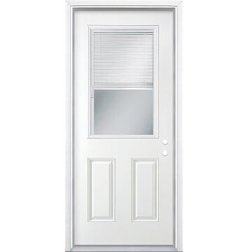 Masonite 32-in x 80-in Steel Half Lite Left-Hand Inswing Primed Prehung Single Front Door with Brickmould and Blinds in White   741074