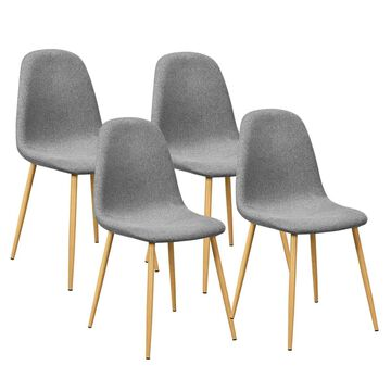 Goplus Set of 4 Contemporary/Modern Dining Side Chair (Metal Frame) in Gray | OGY02599