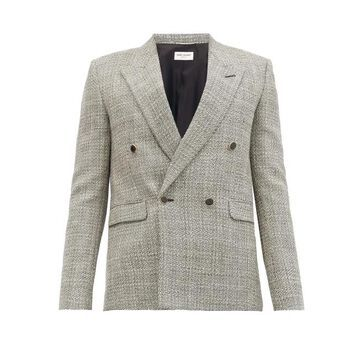 Saint Laurent - Double-breasted Houndstooth Wool Blazer - Mens - Grey