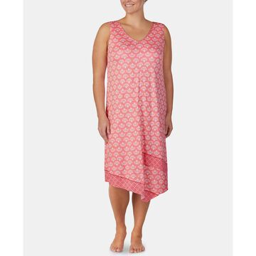 Plus-Size Printed Midi-Nightgown