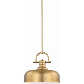Volume Lighting 1-Light LED Restoration Brass Downrod Bowl Pendant