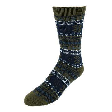 Dearfoams Men's Fairisle Knit Cabin Slipper Socks