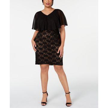 Plus Size Chiffon-Overlay Lace Sheath Dress