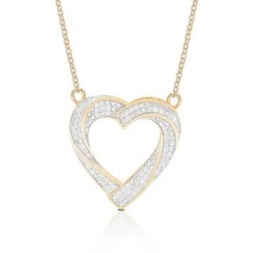 Finesque Sterling Silver 1/2ct TDW Diamond Heart Pendant Necklace (Gold Plate - Rose)