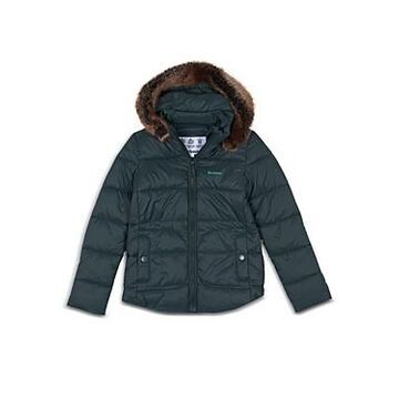 Barbour Girls' Quilted Faux Fur Trim Hooded Coat - Big Kid