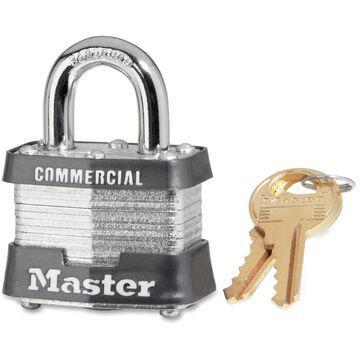 Master Lock 4-Pin Tumbler Locks - Keyed Different - Laminated Steel Body, Hardened Steel Shackle, Metal - Silver Metal