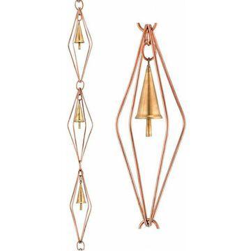 Good Directions 8.5 ft. Diamond Pure Copper Single Link Rain Chain W/ Bells