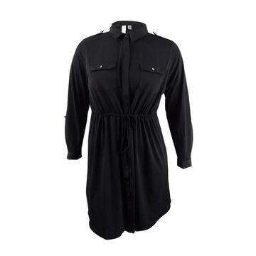 NY Collection Women's Petite Plus Size Utility Shirtdress - Black