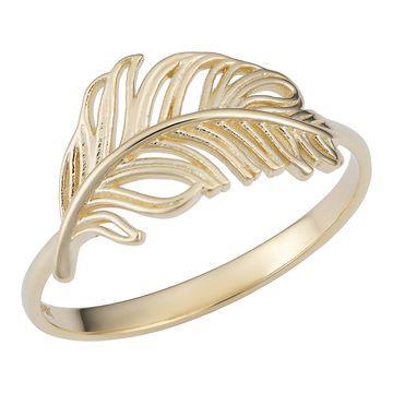 Fremada 14k Yellow Gold Feather Ring