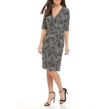 Connected Apparel Women's Elbow Sleeve Geometric Print Wrap Dress -