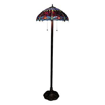 Warehouse of Tiffany Indoor Table Lamps vibrant - Blue & Red Tiffany Dragonfly Floor Lamp