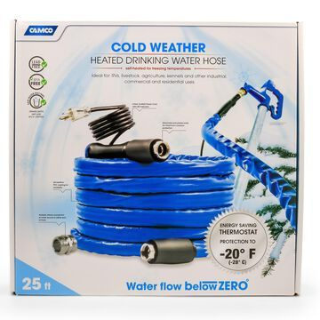 Camco TastePURE 25' Heated Drinking Water Hose, Freeze Protection Down to -20F, Blue