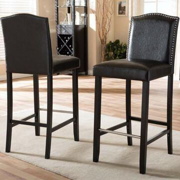 Baxton Studio Libra Bar Stools in Black (Set of 2)
