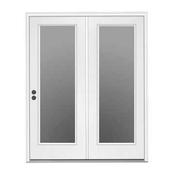 ReliaBilt 72-in x 80-in Clear Glass Primed Steel Right-Hand Inswing Double Door Center-hinged Patio Door in Off-White