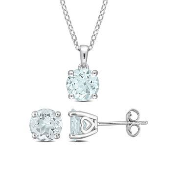 3-1/2 Carat T.G.W. Aquamarine Sterling Silver 2-pc Solitaire Stud Earrings and Pendant with Chain Set