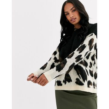 Liquorish oversized color block leopard print sweater-Multi