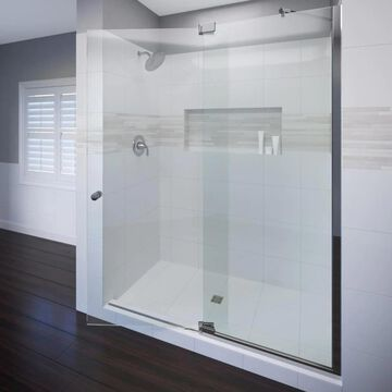 Basco Cantour 76-in H x 32-in to 36-in W Frameless Pivot Chrome Shower Door (Clear Glass) | CANA-935-36XPSV
