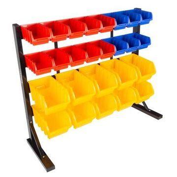 Stalwart 26 Bin Wall Mountable or Free Standing Tool Storage Rack Organizer