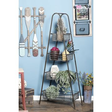Farmhouse 65 Inch 4-Tiered Freestanding Storage Rack by Studio 350
