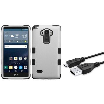 Insten Tuff Hard Hybrid Rubber Silicone Case For LG G Stylo - Gray/Black (+USB Cable)