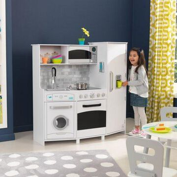 KidKraft Large Wooden Play Kitchen with Lights & Sounds, Icemaker, Play Phone - White