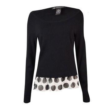 INC International Concepts Women's Polka-Dot Hem Sweater - Deep Black