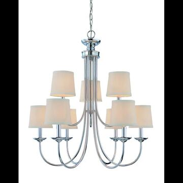 Craftmade 26129 Spencer Two Tier 9 Light Candle Style Chandelier - 27.5 Inches Wide Chrome Indoor Lighting Chandeliers