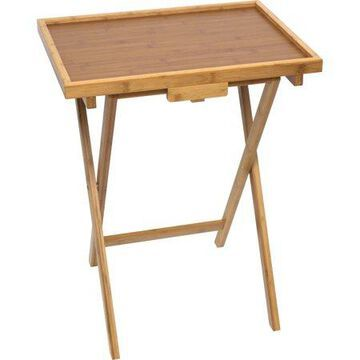 Lipper International Bamboo Lipped Snack Table, Set of Two