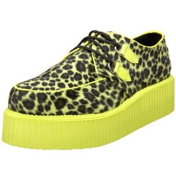 Pleaser Men's V-Creeper 507UV Lace-Up,Lime/Cheetah,4 M US
