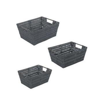 Simplify Rattan Tote Baskets Set, 3 Pack