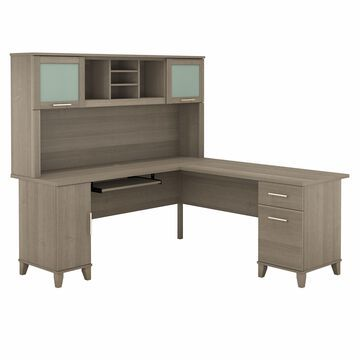 Bush Furniture Somerset 72 in L Desk with Hutch, Keyboard Tray, File and Storage in Ash Gray