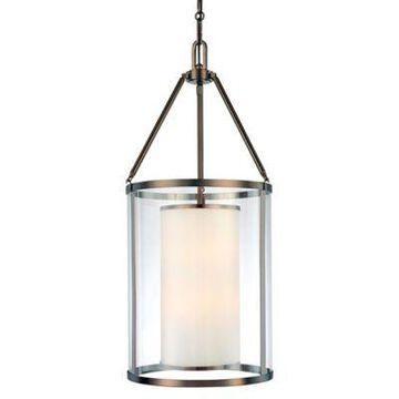 Minka Lavery Harvard Court 6-Light Pendant in Bronze with Glass Shade