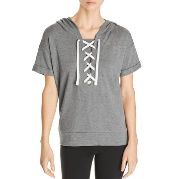 Marc New York Womens Hooded Athleisure Top