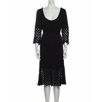 Scoop Neck Midi Length Dress Black
