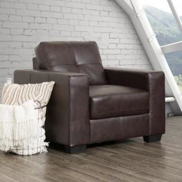 CorLiving Tufted Bonded Leather Armchair (Brown)