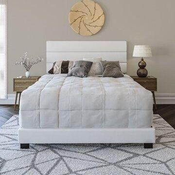 Premier Rapallo Upholstered Faux Leather Tri Panel Channel Headboard Platform Bed Frame, Full, White