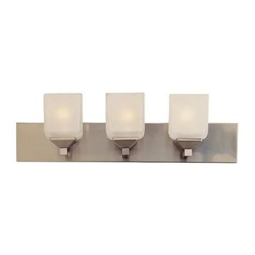 Trans Globe Three Light Bath Bar, Pewter Finish with Frosted Glass