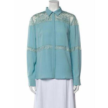Silk Long Sleeve Button-Up Top Blue